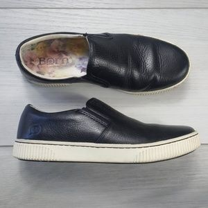 Born Richie Black Leather Slip On Casual Shoes 7.5